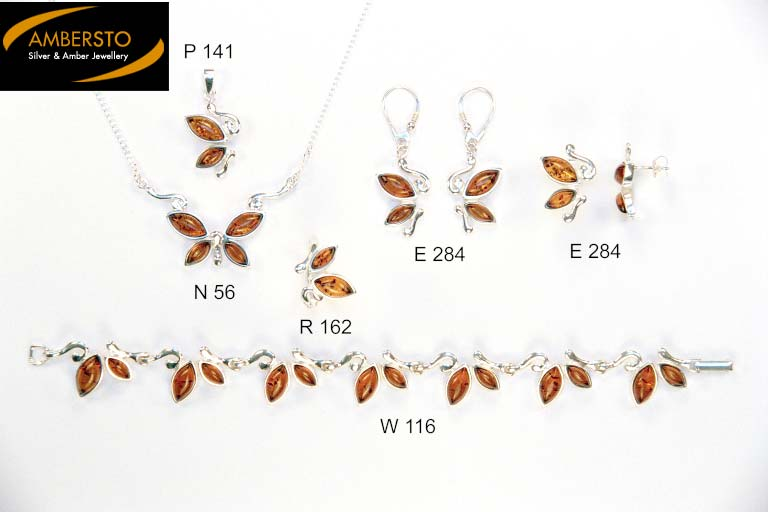 amber jewelry (amber and silver set)