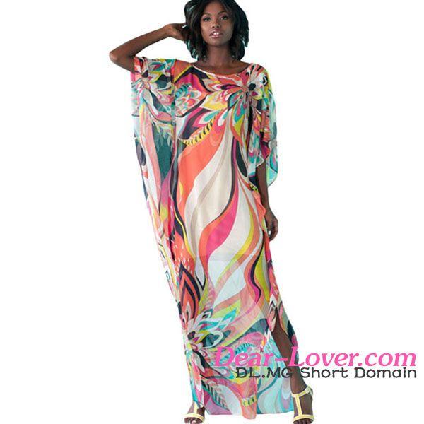 Dear-lover Artistic Colorful Floral Print Chiffon Beach Kaftan Smock beachwear