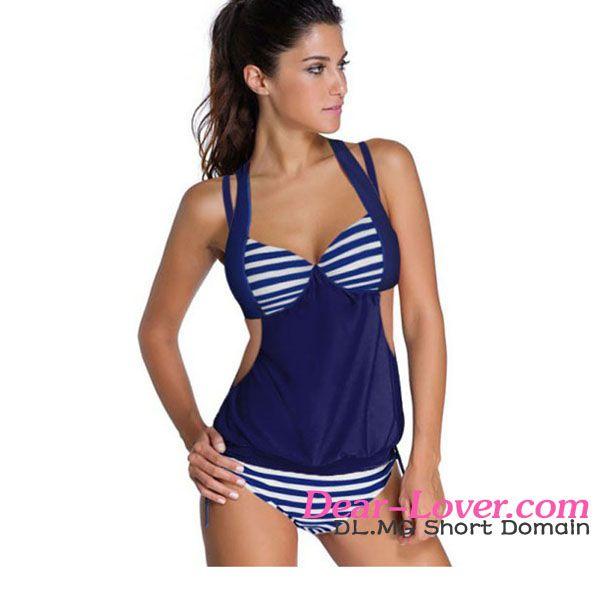 Dear-lover 2pcs Solid Navy Stripe Halter Tankini Swimsuit women sexi hot girls bikini