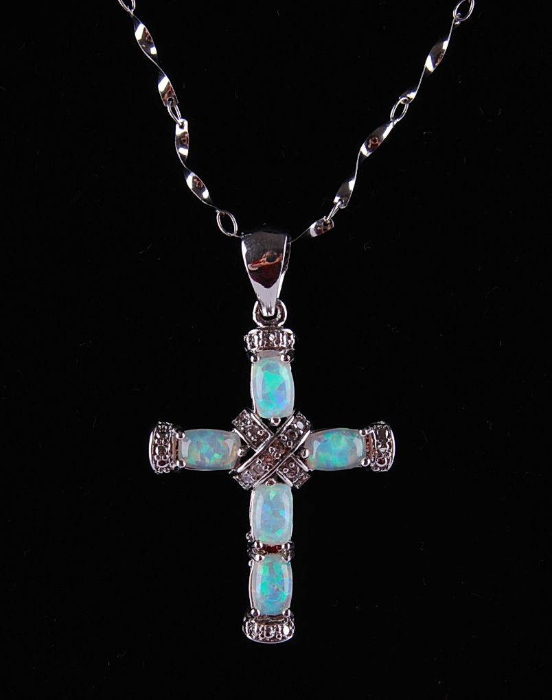 opal cross pendant P77