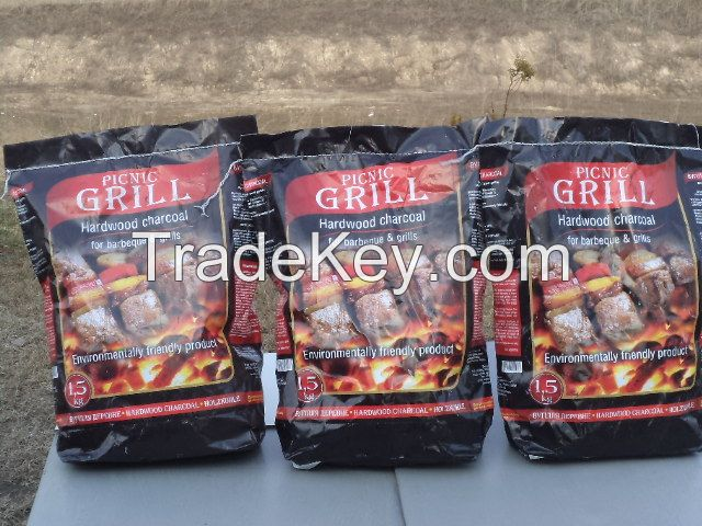 Charcoal from hardwood