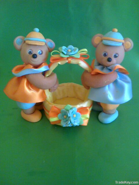 Boy baby bears with basket