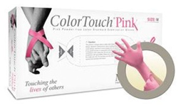 Microflex Color Touch Pink Latex Gloves