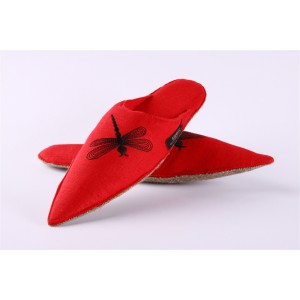 Red slippers, embroidered with beautiful ornaments of the dragonfly
