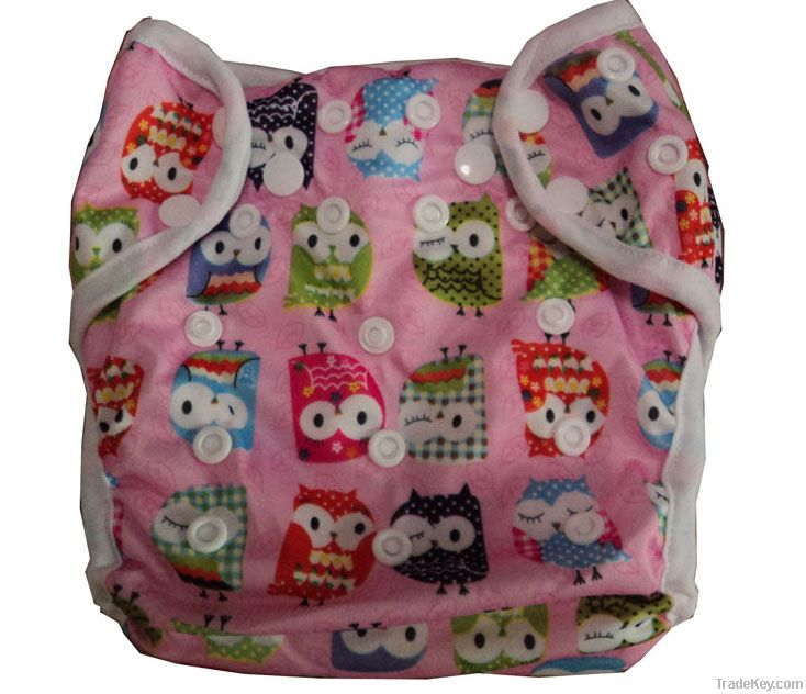 New designed PUL printed cover cloth diapers double snap+gussets