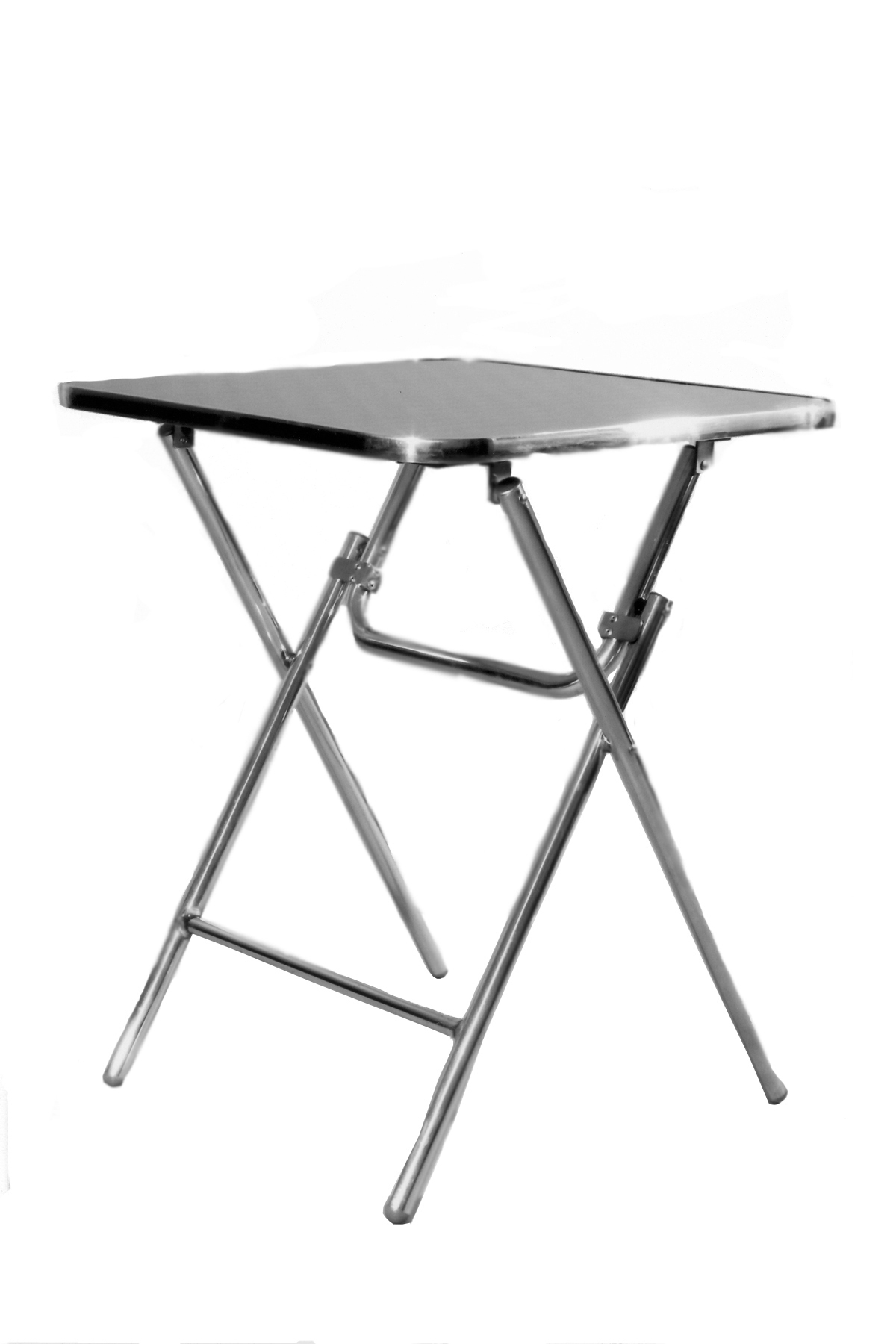 aluminium folding table with top of stainless steel holographic pattern
