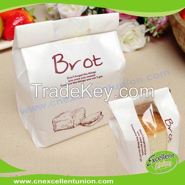 Custom printed Toast bag bread paper kraft bags clear front