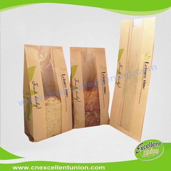 Custom printed Toast bag bread paper kraft bags clear window
