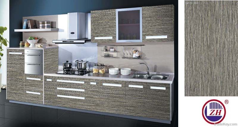 Kitchen cabinet high gloss uv wood grain color mdf board for Kitchen units in zambia
