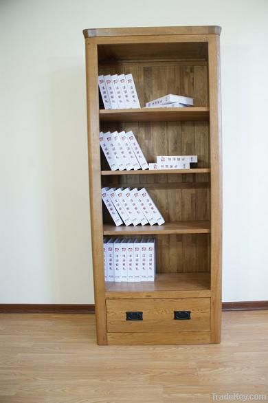 solid oak bookcase with drawer