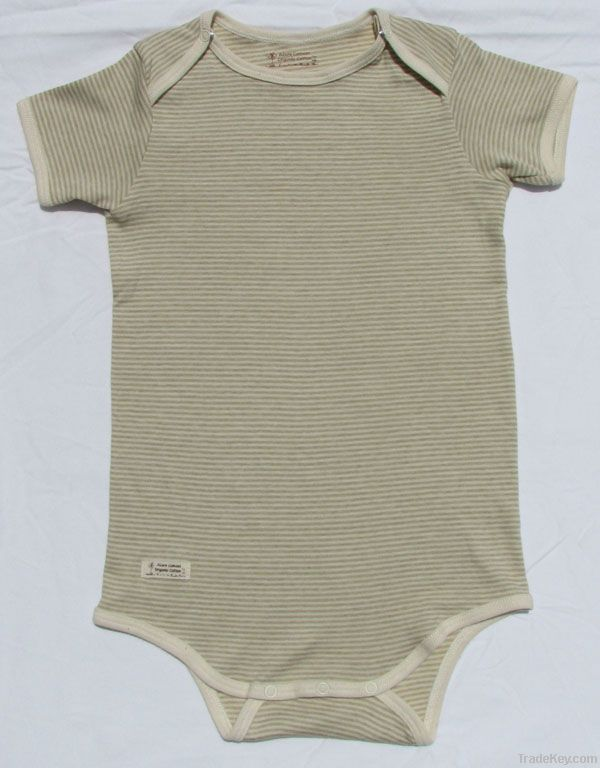 Baby short sleeve baby romper, green and brown