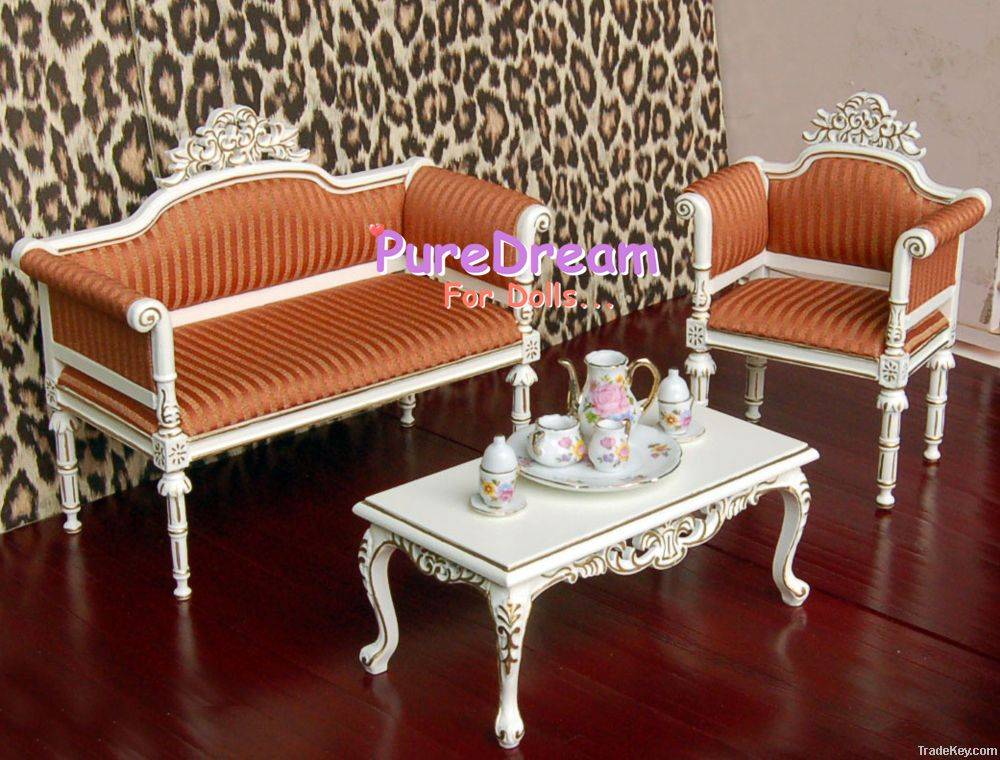 Dollhouse Miniature 1/6 Barbie Royal Furniture Upholstered Couch