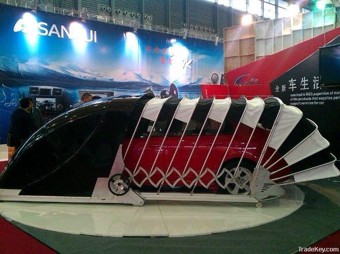 Retractable Car Garage : Solar powered outdoor retractable car garage