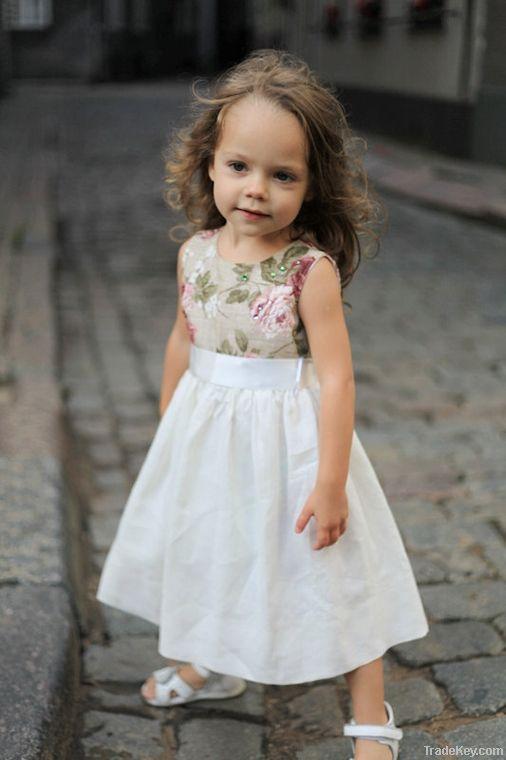 Girls cotton/linen  dress with satin ribbon.ton