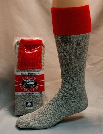 Heavy Thermal Tube Boot Sock/ Gray with Red Top