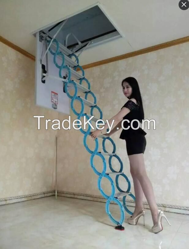 Steel Automatic Electric Telescopic Loft Ladders, Hydraulic Folding Attic  Stairs