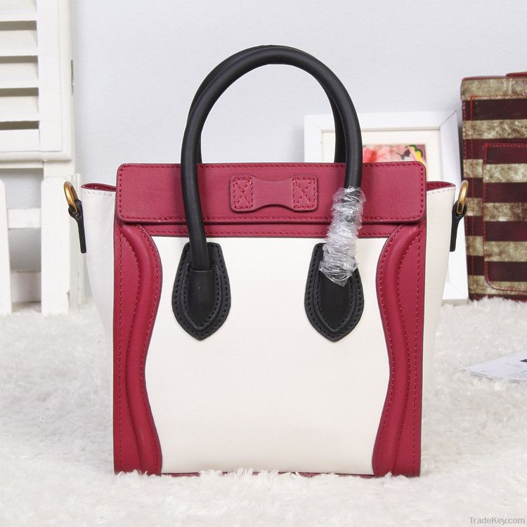 Smiling face bags matched color original leahter fashion handbags