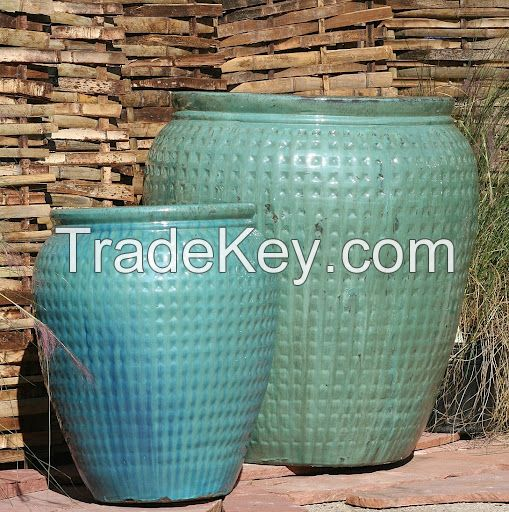 large ceramic pots for sale tall barrels glazed planters light blue outdoor outdoors