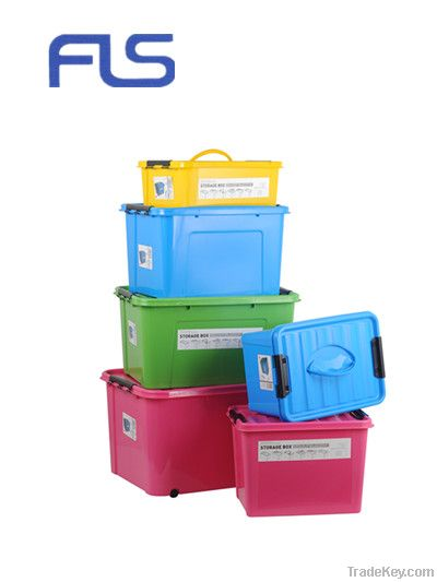 large plastic containers with handle and wheel by ningbo flo