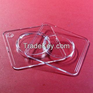 Square coin capsule with inner circle