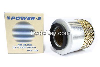 POWER-S AIR FILTER ISUZU TFR 87HP YEARS 1992 - 1999 ENGINE 4JA1  2, 500 CC  OEM NUMBER 8-94334906-0 0 (PART NUMBER PSA-103-S)