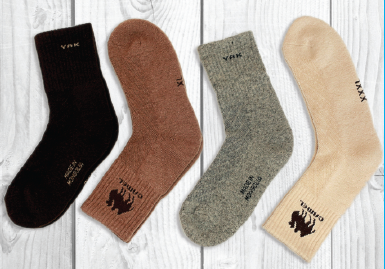 Sheep wool socks (70 % Sheep wool, 20 % Viscous, 10 % Spandex, 4 % Nylon). Made in Mongolia