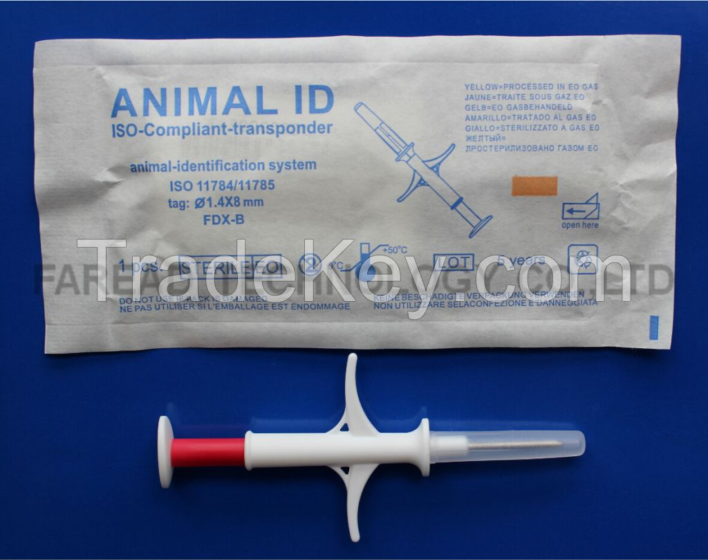 RFID1.4*8mm  glass tag Animal Microchip syringe transponder injector