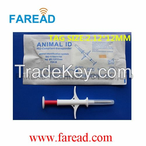 Animal Microchip Syringe with 2.12*12mm Glass Tag ISO11784/785 Fdx-B for Livestock Identification Syringe with Microchip