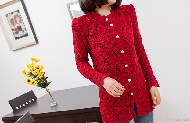 2013 new Korean large pearl clasp Puff hollow long cardigan sweater