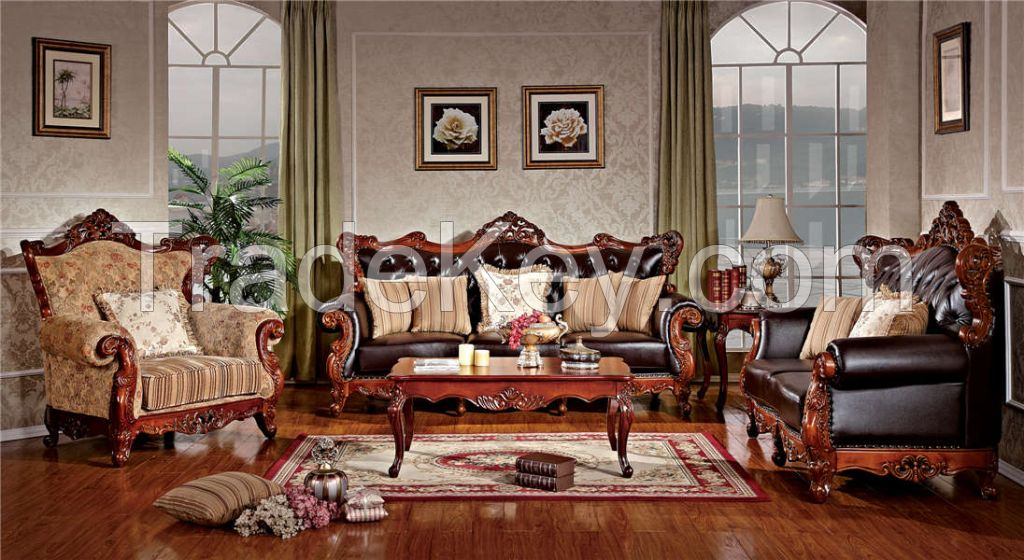 Living room furniture leather sofa set combinet unit for American living style furniture