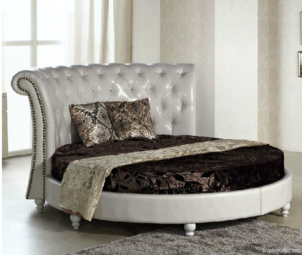 Bisini Modern Round Bed Design Furniture Solid Wood Round Bed