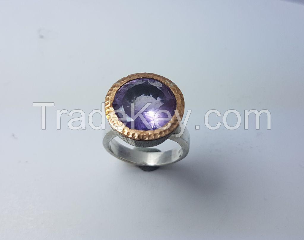 handmade amethyst gem stone  ring