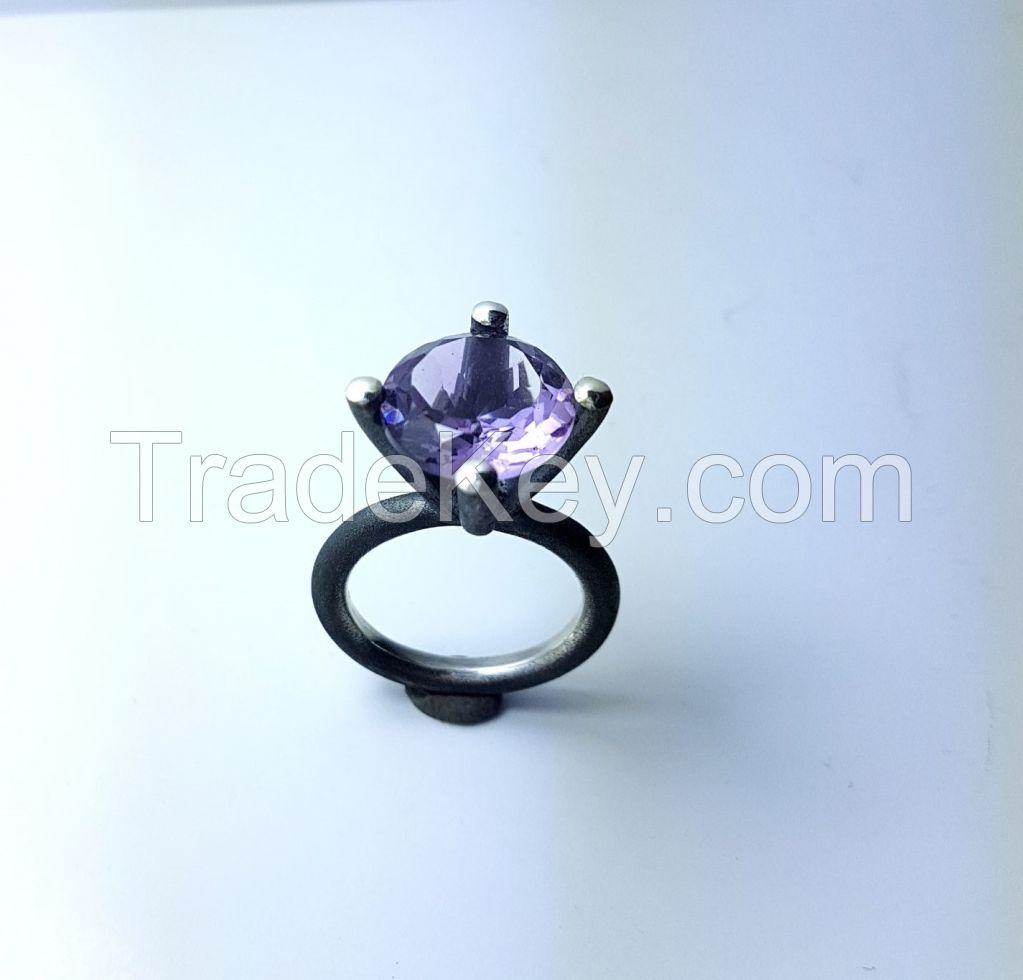 silver handmade  amethyst gem stone ring