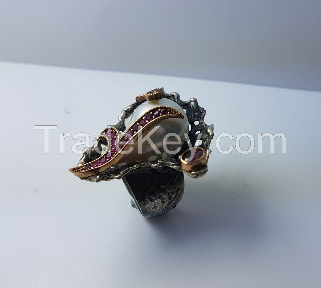 handmade baroque pearl sterling silver ring