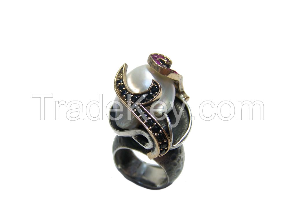 sterling silver handmade baroque pearl ring