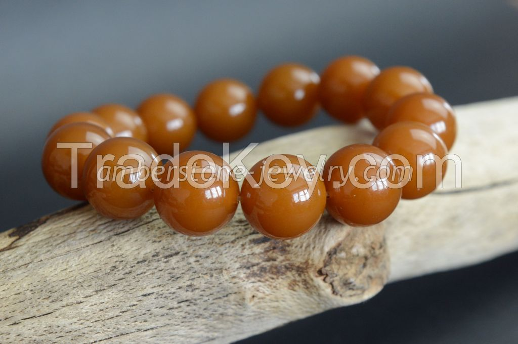 Baltic Amber Bracelet Toffee color perfectly round beads
