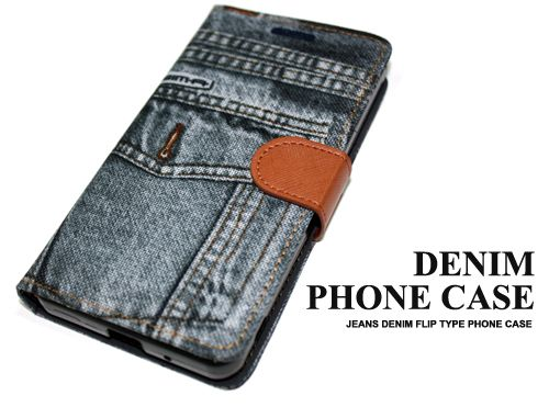 Jeans Denim Mobile Phone Case Wallet Type Card Slot Manetic Holder