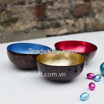 lacquer coconut shell bowl gold metallic color