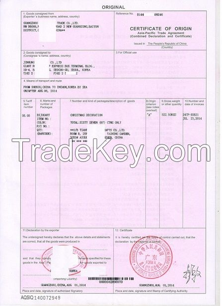 Certificate Of Origin Forms GENERALIZED SYSYEM of PREFERENCES – Generic Certificate of Origin Template