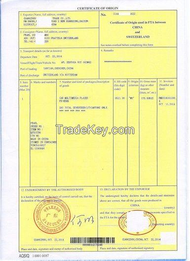 Certificate of origin used in fta between china and for Us israel certificate of origin template