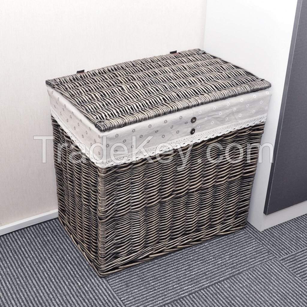 I Will Rectangle Wicker Hand Woven Family Size Divided Double Laundry Hamper With Cotton Liner And Lid Gray Black Coffee Honey Brown