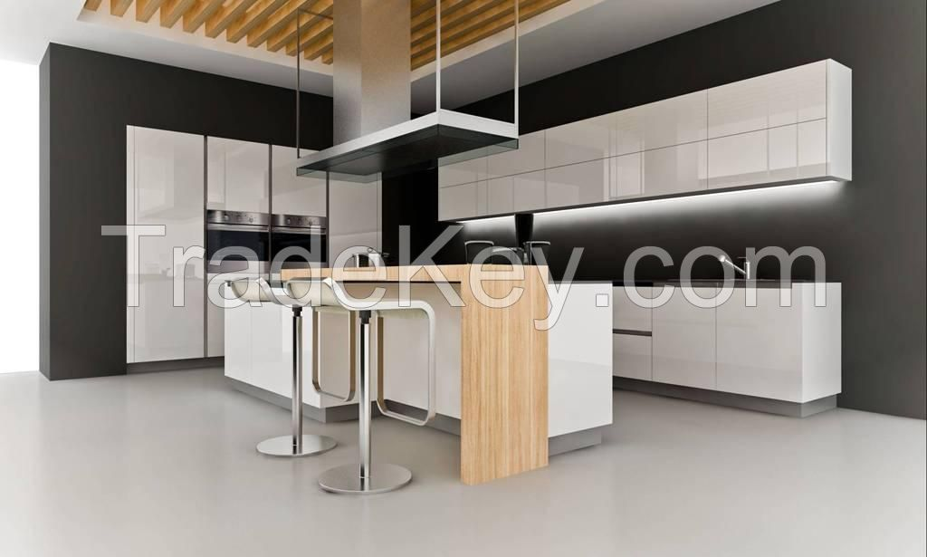 Custom Made High Glossy Lacquer Finish Modular Kitchen Cabinet Project