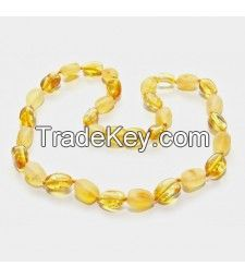 Beans shape Baltic amber teething necklaces