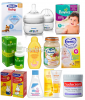 Baby foods, milk powder, bottles, diapers and skin care products