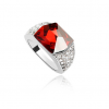 Crystal Ring with Red Diamond