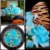 Calming Blue Handmade Soap Carved Flower