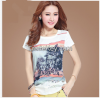 Digital printing with hot fix stone for women's tshirt