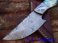 Damascus knife handmade skinner knife - Colored camel bone handle