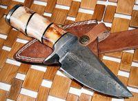 Custom Handmade Damascus Steel knife-Stained Bone Handle