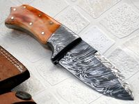 Custom Handmade Damascus Steel Knife - Colored Bone Handle